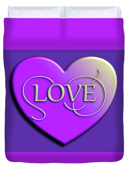 Purple Love Heart Duvet Cover