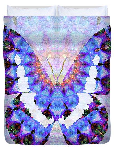 Purple Mandala Butterfly Art By Sharon Cummings Duvet Cover