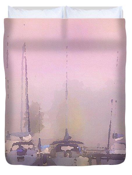 Duvet Cover featuring the digital art Purple Marina Morning by Shelli Fitzpatrick