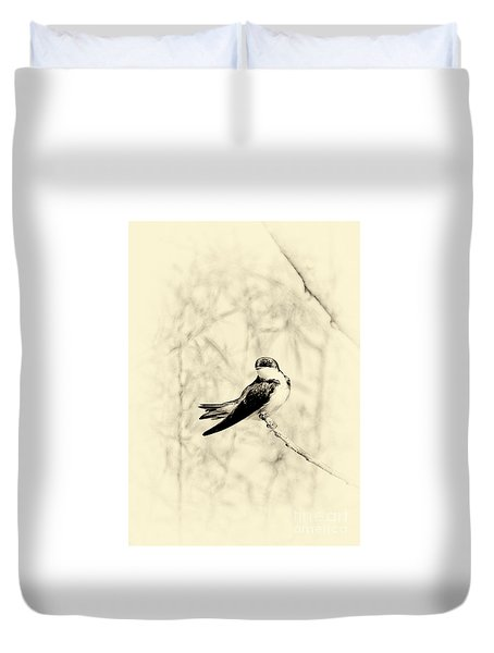 Duvet Cover featuring the photograph Purple Martin by Lila Fisher-Wenzel
