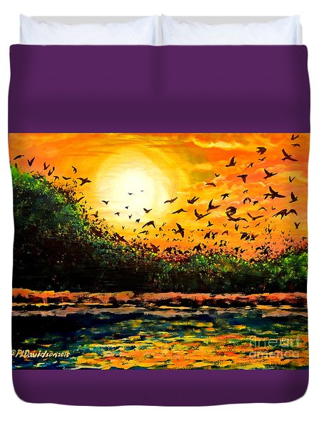 Purple Martin Migration Duvet Cover by Patricia L Davidson