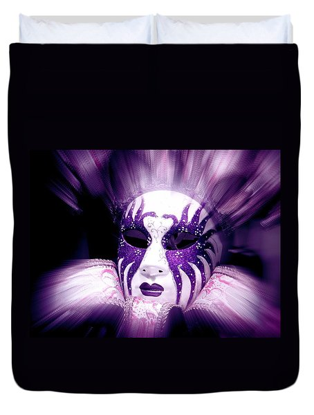 Purple Mask Flash Duvet Cover by Amanda Eberly-Kudamik