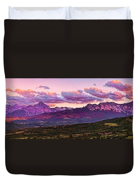 Purple Mountain Sunset Duvet Cover