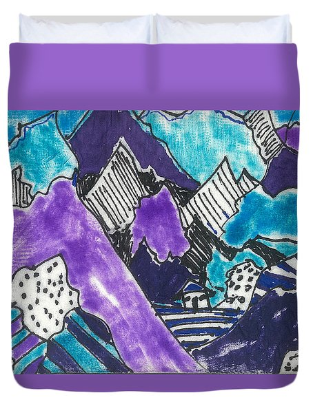 Duvet Cover featuring the painting Purple Mountains Too by Don Koester