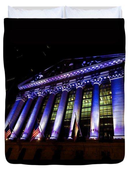Purple New York Stock Exchange At Night - Impressions Of Manhattan Duvet Cover