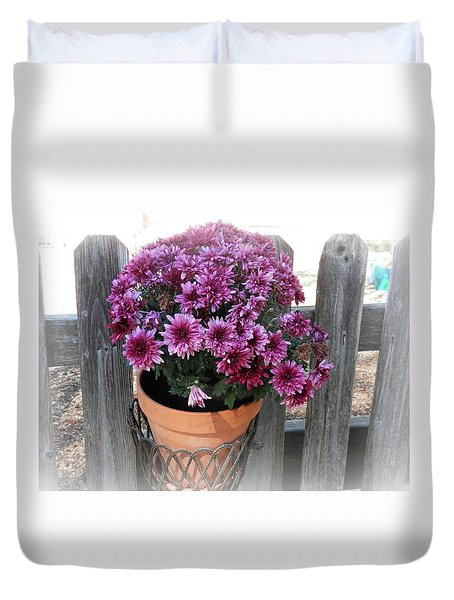 Purple On The Fence Duvet Cover