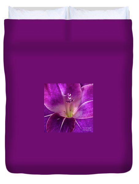 Duvet Cover featuring the photograph Purple Orchid Close Up by Kim Nelson