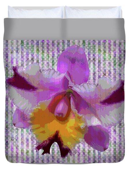 Purple Orchid Design Duvet Cover by Rosalie Scanlon