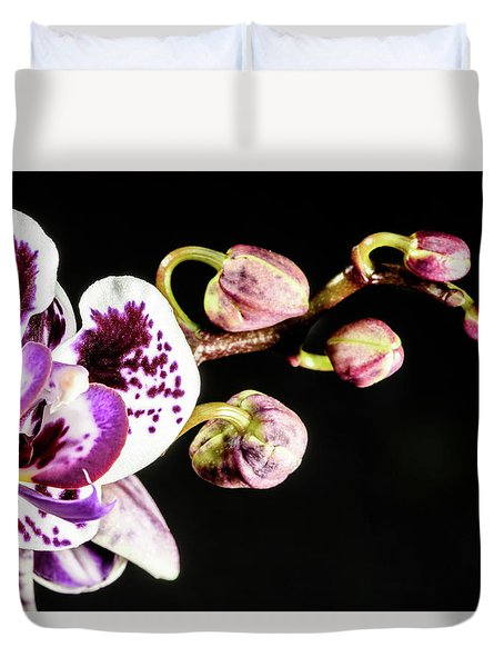 Purple Orchid Reaching Out Duvet Cover