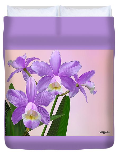 Purple Orchids Duvet Cover