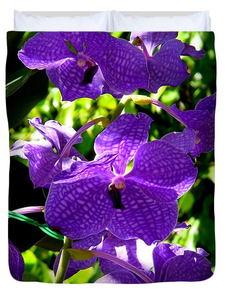 Purple Orchids Duvet Cover by Susanne Van Hulst