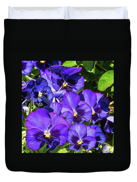 Purple Pansies In Morning Light Duvet Cover