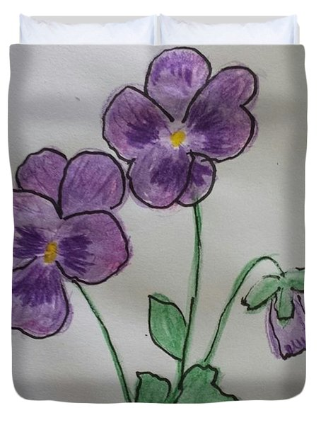 Duvet Cover featuring the painting Purple Pansies by Margaret Welsh Willowsilk