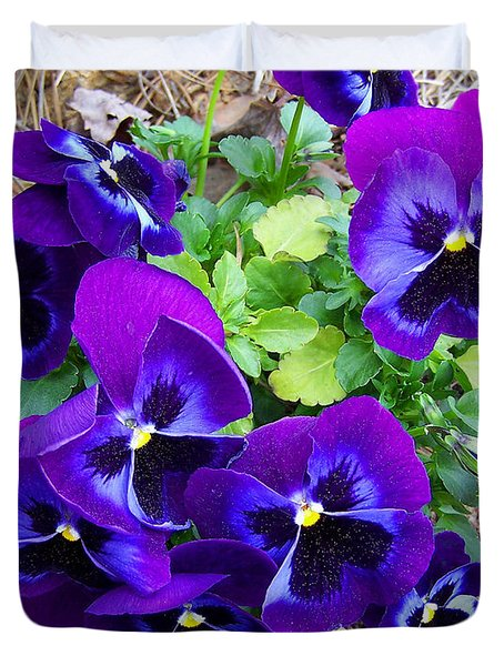 Duvet Cover featuring the photograph Purple Pansies by Sandi OReilly