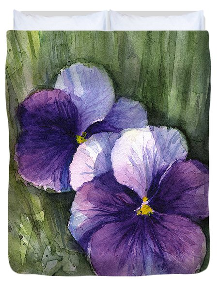 Purple Pansies Watercolor Duvet Cover