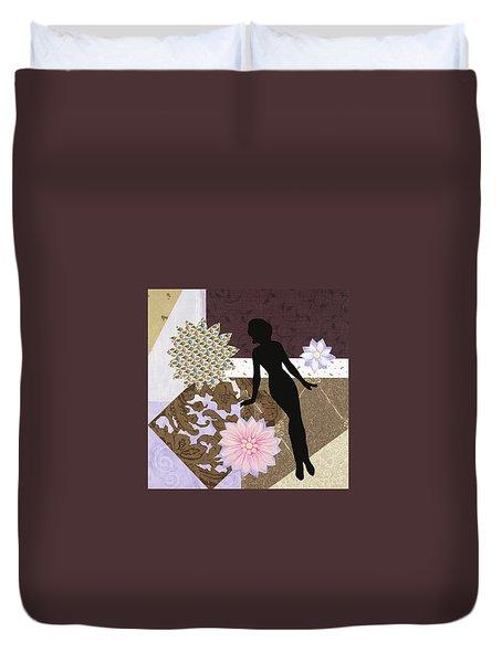 Purple Paper Doll Duvet Cover