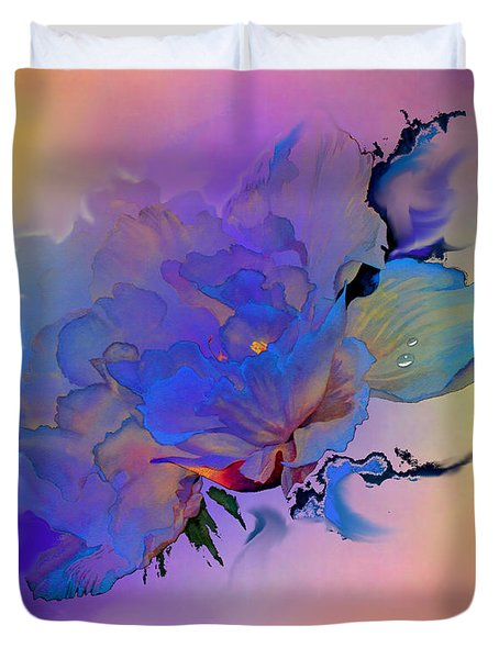 Duvet Cover featuring the painting Purple Passion Peony by Hanne Lore Koehler