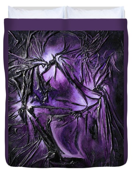 Purple Pedals Duvet Cover by Angela Stout