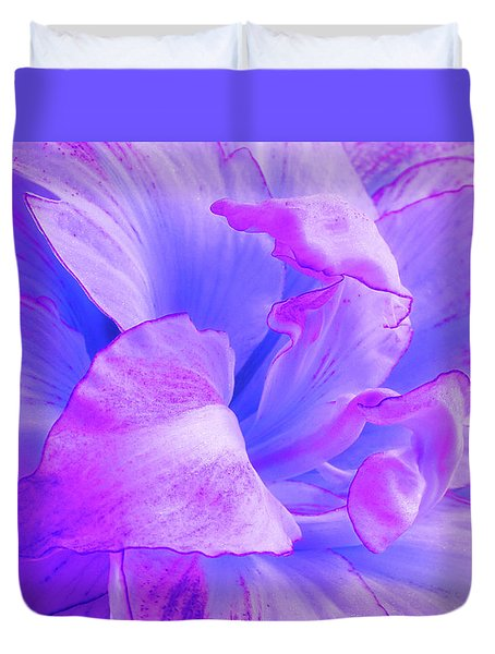 Purple Petals Abstract Duvet Cover by Gill Billington