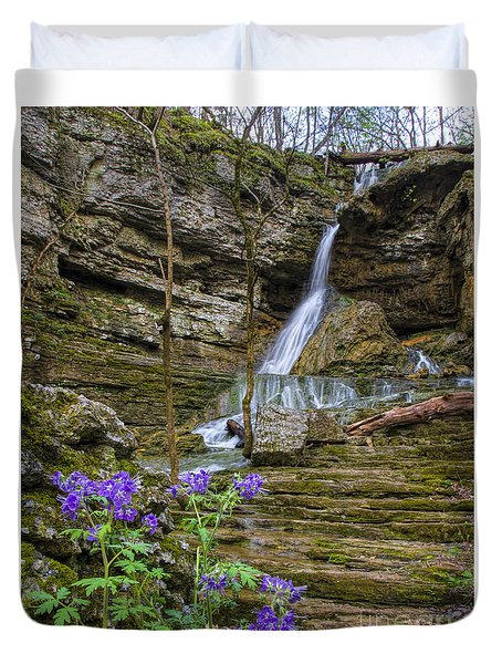Duvet Cover featuring the photograph Purple Phalcelia At Pocket Branch Falls by Barbara Bowen