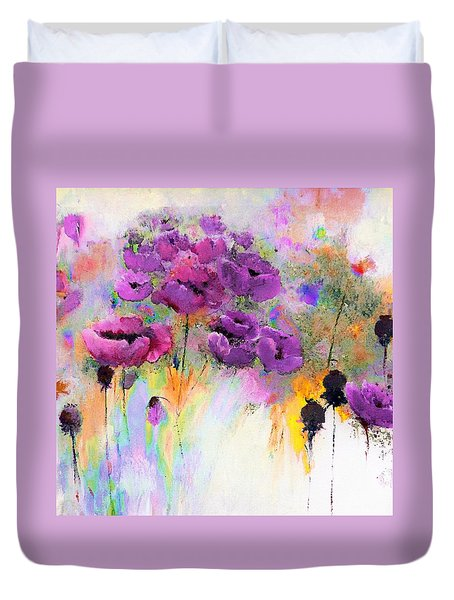 Purple Poppy Passion Painting Duvet Cover by Lisa Kaiser