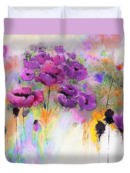 Purple Poppy Passion Painting Duvet Cover