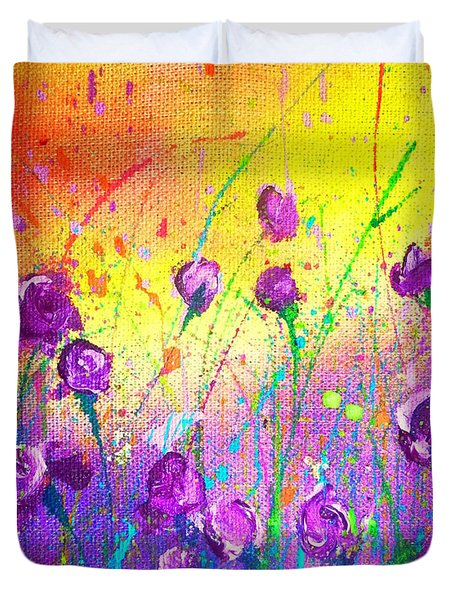 Purple Posies Duvet Cover
