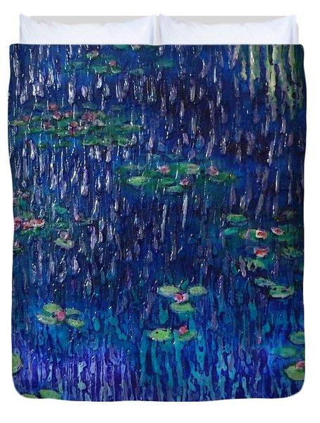 Purple Rain On Water Lilies Duvet Cover