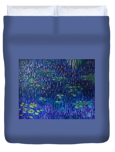 Purple Rain On Water Lilies Duvet Cover