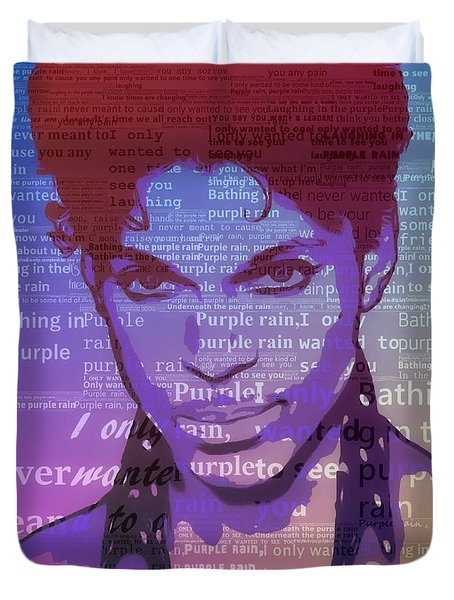Purple Rain Typography Duvet Cover