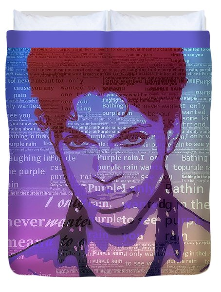 Purple Rain Typography Duvet Cover