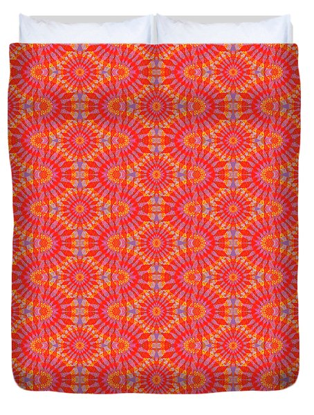 Duvet Cover featuring the painting Purple Red Maze by Kym Nicolas