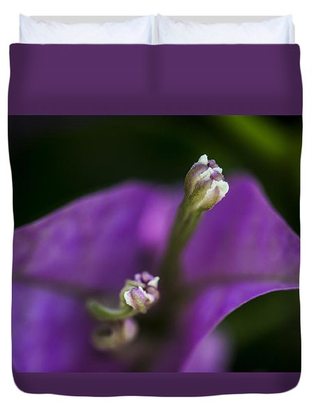 Duvet Cover featuring the photograph Purple Rest Flower by Paula Porterfield-Izzo