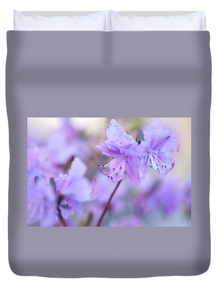 Duvet Cover featuring the photograph Purple Rhododendron 1. Spring Watercolors by Jenny Rainbow