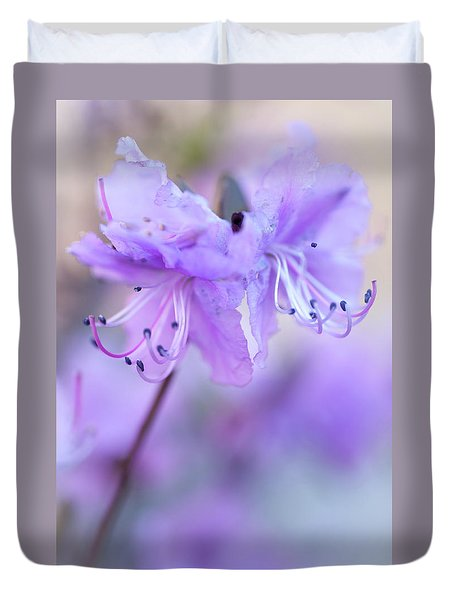 Duvet Cover featuring the photograph Purple Rhododendron. Spring Watercolors by Jenny Rainbow