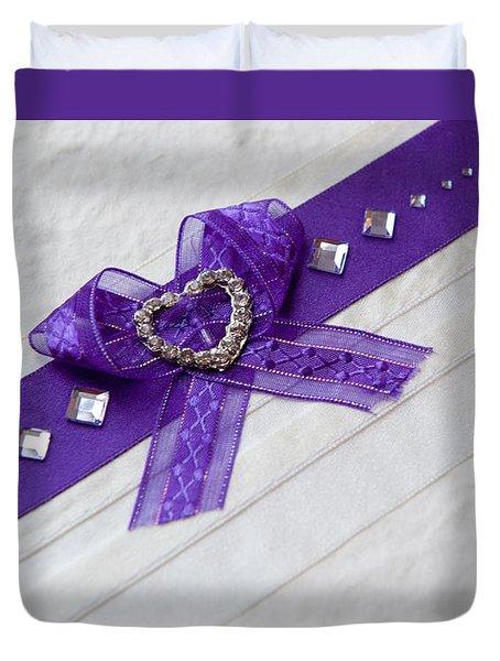 Purple Ribbon Heart Duvet Cover