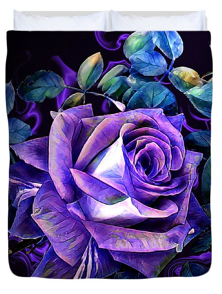 Purple Rose Bud Painting Duvet Cover