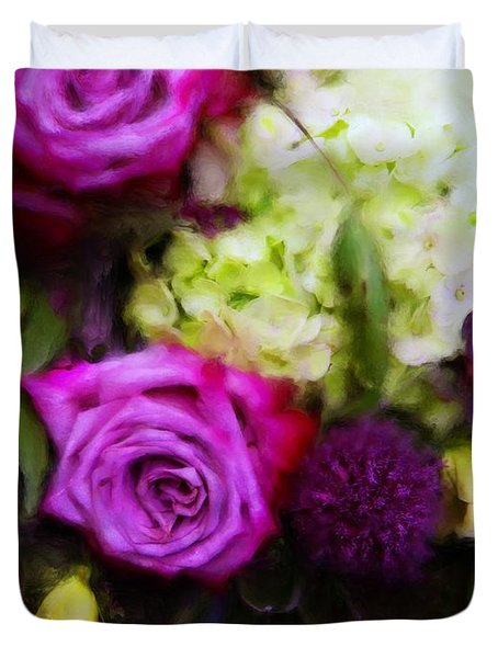 Purple Roses With Hydrangea Duvet Cover