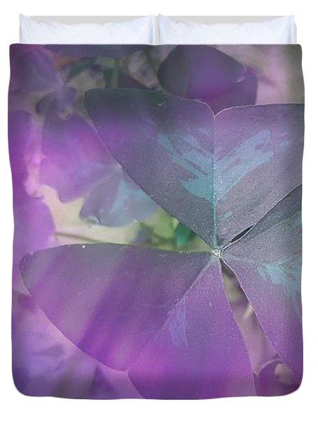 Purple Shamrock Duvet Cover by Rachel Hannah