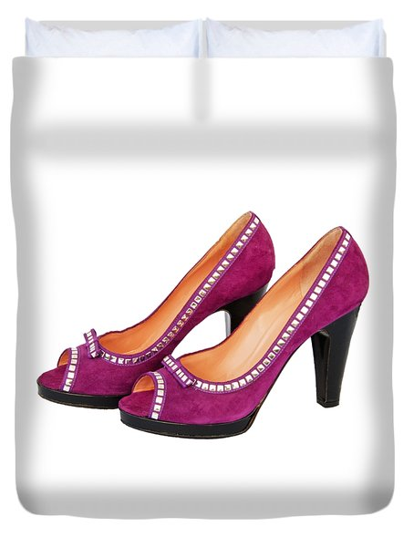 Purple Shoes Duvet Cover