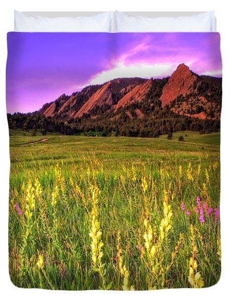 Purple Skies And Wildflowers Duvet Cover