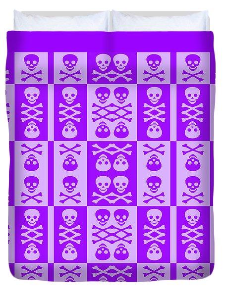 Purple Skull And Crossbones Pattern Duvet Cover by Roseanne Jones