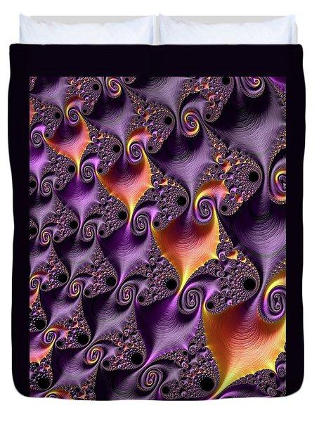 Purple Spirals Duvet Cover by Rajiv Chopra