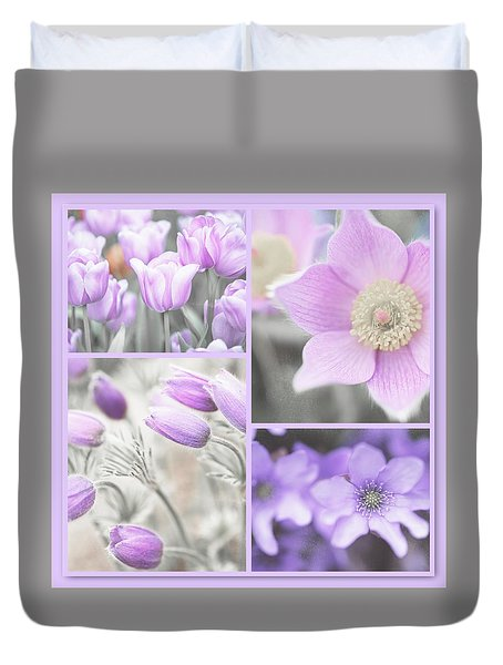 Duvet Cover featuring the photograph Purple Spring Bloom Collage. Shabby Chic Collection by Jenny Rainbow