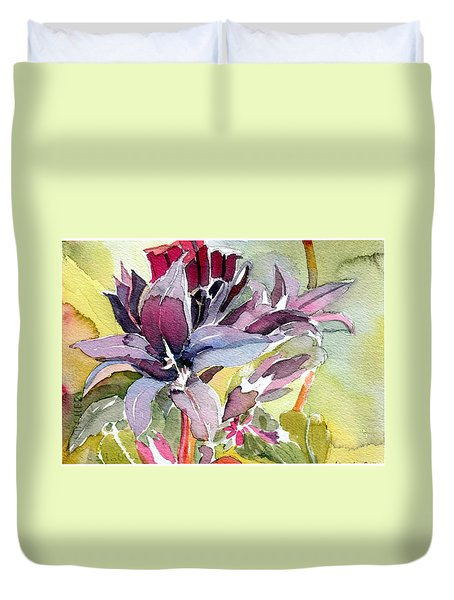 Purple Stem Aster Duvet Cover by Mindy Newman