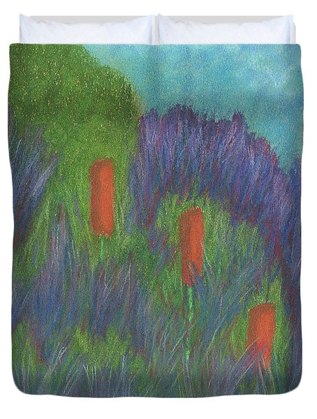Purple Strife And Cattails Duvet Cover