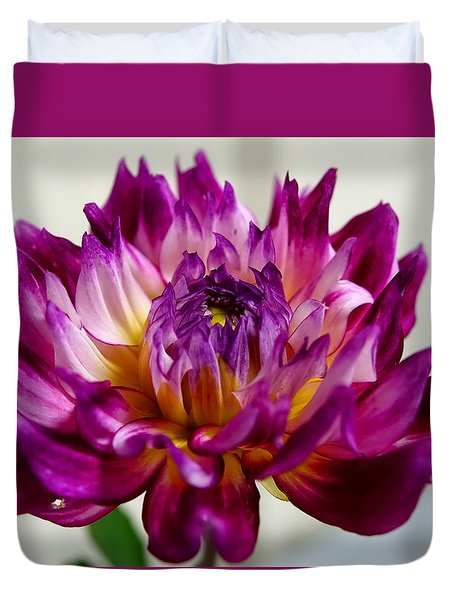 Duvet Cover featuring the photograph Purple Sunset Flower 1 by Marianne Dow