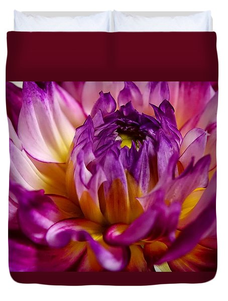Duvet Cover featuring the photograph Purple Sunset Flower 2 by Marianne Dow
