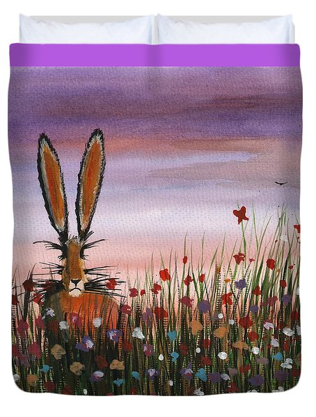 Purple Sunset Hare Duvet Cover
