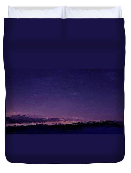 Purple Sunset Over Beach  Duvet Cover